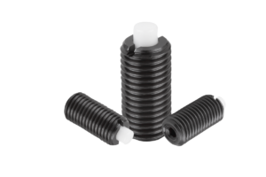 Spring plungers with hexagon socket and flattened POM thrust pin, steel