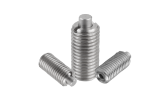 Spring plungers with hexagon socket and flattened thrust pin, stainless steel