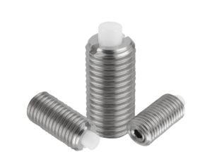 Spring plungers with hexagon socket and flattened POM thrust pin, stainless steel