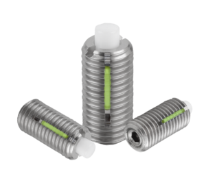 Spring plungers with hexagon socket and flattened POM thrust pin, stainless steel, LONG-LOK lock