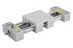 Double tube linear actuator with mounting bracket