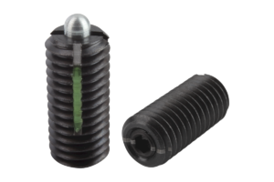 Spring plungers with hexagon socket and thrust pin, light spring force, LONG-LOK secured