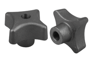 Palm grips DIN 6335, grey cast iron, Form B, drilled through