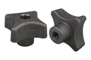 Palm grips DIN 6335, grey cast iron, Form D, thread countersunk