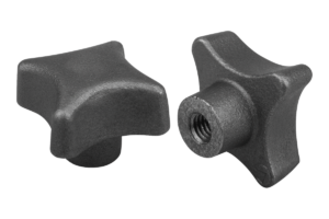 Palm grips DIN 6335, grey cast iron, Form E, blind tapped hole