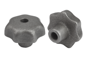 Star grips DIN 6336, grey cast iron, Form B, drilled through