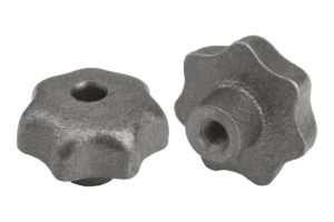 Star grips DIN 6336, grey cast iron, Form D, thread countersunk