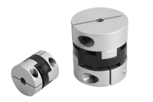 Oldham-type couplings with radial clamping hub