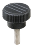 Knurled knobs with external thread