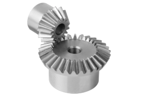Bevel gears in steel, ratio 1:2 toothing milled, straight teeth, engagement angle 20°