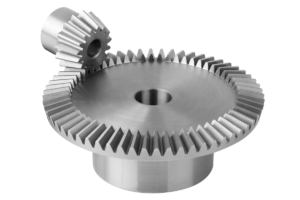 Bevel gears in steel, ratio 1:4 toothing milled, straight teeth, engagement angle 20°