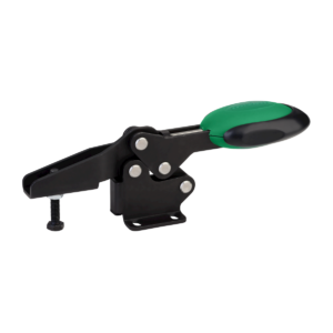 Toggle clamps horizontal with safety interlock with flat foot and adjustable clamping spindle