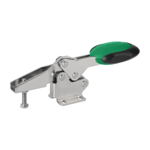 Toggle clamps horizontal with safety interlock with flat foot and adjustable clamping spindle, stainless steel