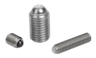 Ball-end thrust screws without head stainless steel with full ball