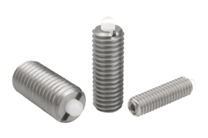 Spring plungers with hexagon socket and POM thrust pin, stainless steel