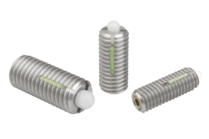 Spring plungers with hexagon socket and POM thrust pin, LONG-LOK secured, stainless steel