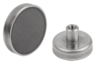 Shallow pot magnets with internal thread hard ferrite with stainless-steel housing
