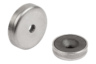 Shallow pot magnets with countersink hard ferrite with stainless-steel housing