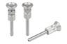 Ball lock pins with mushroom grip, stainless steel with high shear strength, adjustable