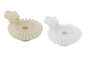 Bevel gears, plastic, ratio 1:3 injection moulded, straight teeth, engagement angle 20°