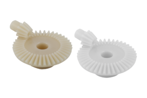 Bevel gears, plastic, ratio 1:4 injection-moulded, straight teeth, engagement angle 20°